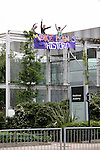 Climate change protesters  hang  a banner adjacent to Heathrow airport <br />  2,000 protesters gathered at an impromptu camp set up to protest against the UK's airport expansion program.