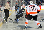 OMAHA, NE - FEBRUARY 9:  Zach Aston-Reese #11 from the Lincoln Stars controls the puck in front of Dominic Racobaldo #10 from the Omaha Lancers in the second period at the Battle on Ice Saturday at TD Ameritrade in Omaha, NE. (Photo by Schyler Eggen/Inertia)
