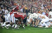 Jan 7, 2010; Pasadena, CA, USA; Alabama Crimson Tide linebacker Rolando McClain (25) lines up on a field goal attempt by the Texas Longhorns during the 2010 BCS national championship game at the Rose Bowl. Alabama defeated Texas 37-21. Mandatory Credit: Mark J. Rebilas-