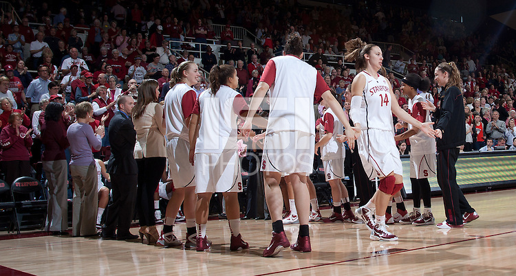STANFORD, CA - January 22, 2011: Kayla Pedersen of the Stanford women's basketball team before their game against USC at Maples Pavilion. Stanford beat USC 95-51.