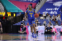 GREENSBORO, NC - MARCH 04: Amber Brown #5 of the University of Pittsburgh brings the ball up the court during a game between Pitt and Notre Dame at Greensboro Coliseum on March 04, 2020 in Greensboro, North Carolina.