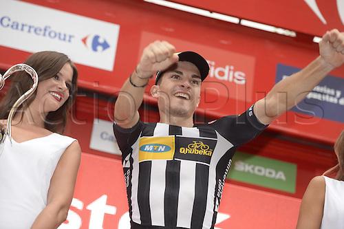 31.08.2015. 2015.  Valencia -to Castellon, Vuelta Espana Cycling tour, stage 10.  Mtn - Qhubeka 2015, Sbaragli Kristian, on the  podium in Castellon