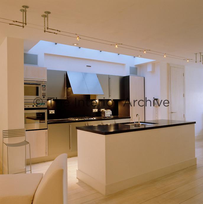 Light pours into this modern open-plan kitchen through a large rectangular skylight