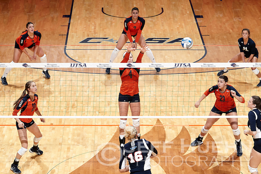 SAN ANTONIO, TX - SEPTEMBER 26, 2014: The University of Texas at San Antonio Roadrunners defeat the Florida Atlantic University Owls 3-1 (27-25, 25-20, 17-25, 27-25) at the UTSA Convocation Center. (Photo by Jeff Huehn)