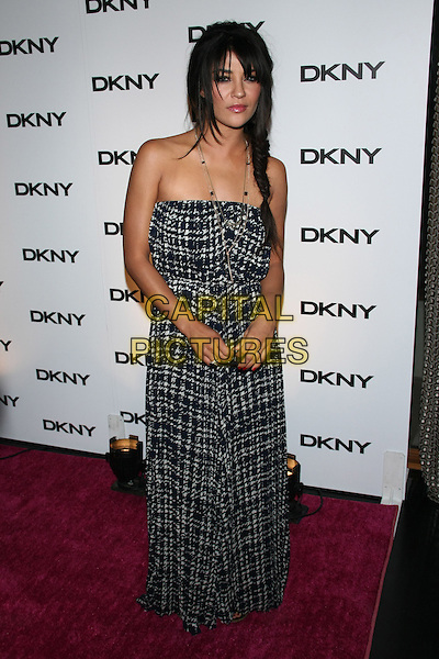 Jessica Szohr.The DKNY Sunglass Soiree at The Beach in the Dream Downtown Hotel, New York, NY, USA..July 26th, 2011.full length grey gray strapless grey gray white check print dress braid plait fishtail maxi.CAP/LNC/TOM.©TOM/LNC/Capital Pictures.