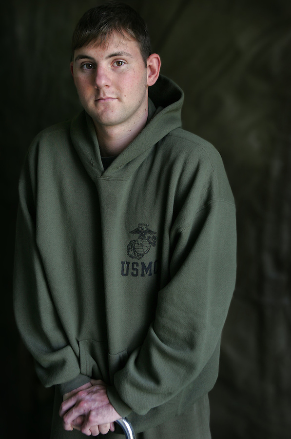 Lcpl. Zachary O'Grady, 22, Boston, Massachusettes, 2nd Battalion 2nd Marines. Wounded in Karma, Iraq on September 18, 2005.