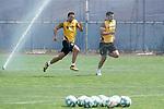 Getafe's Nemanja Maksimovic (l) and Chema Rodriguez during training session. May 25,2020.(ALTERPHOTOS/Acero)