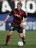 17 April 2004: MetroStars John Wolyniec in action against DC United at Giants' Stadium in East Rutherford, New Jersey.  MetroStars defeated DC United, 3-2.