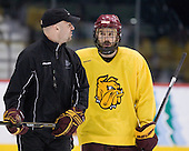 Brett Larson (Duluth - Assistant Coach), Justin Fontaine (Duluth - 37) - The University of Minnesota-Duluth Bulldogs practiced on Friday morning, April 8, 2011, during the 2011 Frozen Four at the Xcel Energy Center in St. Paul, Minnesota.