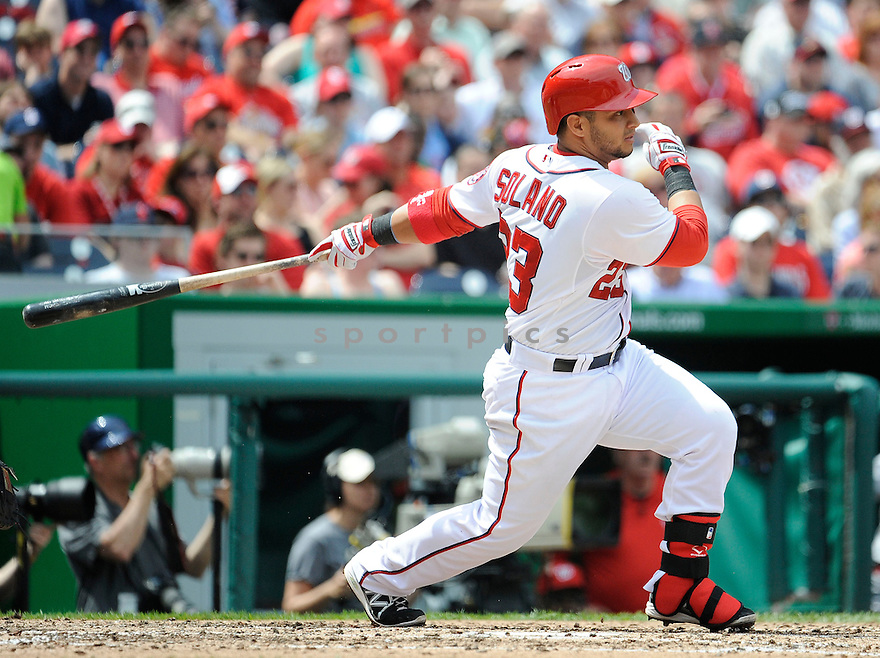 Washington Nationals Jhonatan Solano (23) during a game against the St. Louis Cardinals on April 24, 2013 at Nationals Park in Washington DC. The Cardinals beat the Nationals 4-2.