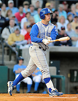 April 9, 2009: Third baseman and top Royals prospect Mike Moustakas of the Wilmington Blue Rocks, hits in his first at-bat against the Myrtle Beach Pelicans on 2009 opening night at BB&T Coastal Field in Myrtle Beach, S.C. Photo by:  Tom Priddy/Four Seam Images