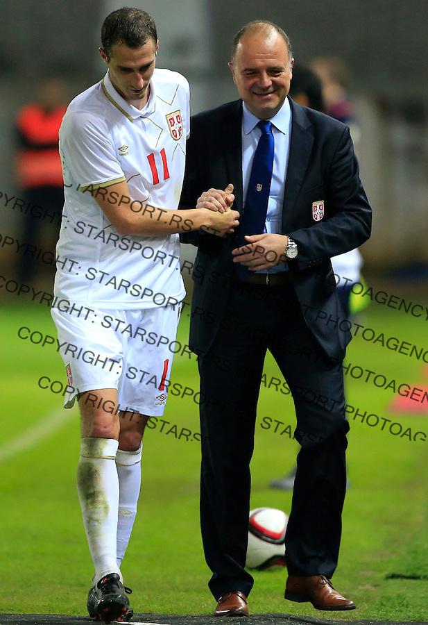 Fudbal<br /> Prijateljski mec-Friendly match<br /> Srbija v Grcka<br /> Radosav Petrovic (L) and Aleksandar Boskovic<br /> Chania, 17.11.2014.<br /> foto: Srdjan Stevanovic/Starsportphoto &copy;