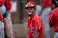AZL Angels outfielder Drevian Williams-Nelson (2) in the dugout during an Arizona League game against the AZL Padres 2 at Tempe Diablo Stadium on July 18, 2018 in Tempe, Arizona. The AZL Padres 2 defeated the AZL Angels 8-1. (Zachary Lucy/Four Seam Images)