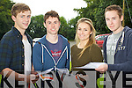 Leaving Cert students from Brookfield College, Tralee, who got their results on Wednesday, from left: Brendan O'Brien (Annascaul), John Lane (Abbeyfeale), Niamh Moriarty (Tralee) and Shane Hayes (Abbeydorney)..