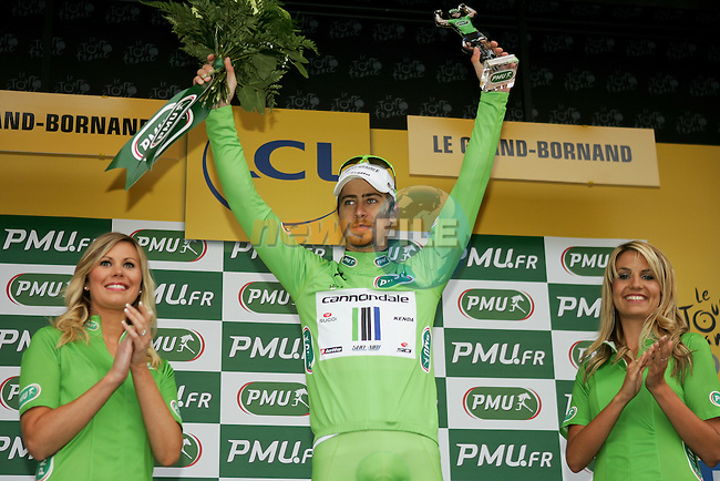 Peter Sagan (SVK) Cannondale retains the Points Green Jersey at the end of Stage 19 of the 100th Edition of the 2013 Tour de France from Bourg-d'Oisans to Le Grand-Bornand. 19th July 2013.<br /> (Photo:Thomas van Bracht / Peloton Photos/www.newsfile.ie)