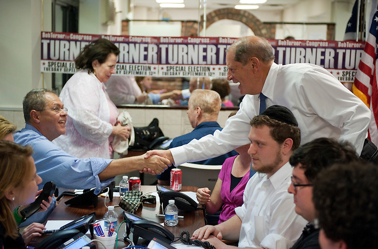 UNITED STATES - AUGUST 29:  Bob Turner, republican candidate for the seat of New York's 9th Congressional district, greets volunteers at his campaign office in the Howard Beach section of Queens.  A special election will be held on September 13, 2011, to fill the seat vacated by former congressman Anthony Weiner.  (Photo By Tom Williams/Roll Call)