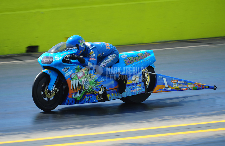 Sept. 24, 2011; Ennis, TX, USA: NHRA pro stock motorcycle rider L.E. Tonglet during qualifying for the Fall Nationals at the Texas Motorplex. Mandatory Credit: Mark J. Rebilas-