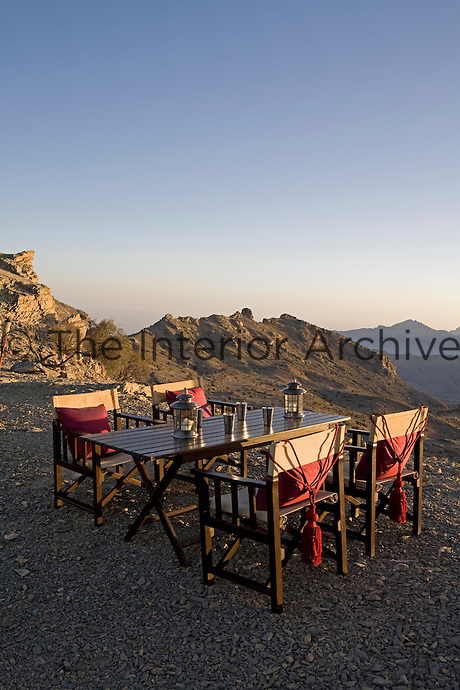 The al fresco dining area has a spectacular view over the Jebel Ahktar mountains