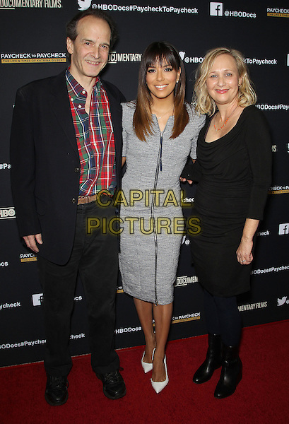 10 March 2014 - Los Angeles, California - Nick Doob, Eva Longoria, Shari Cookson. &quot;Paycheck To Paycheck: The Life and Times of Katrina Gilbert&quot; presented by HBO Documentary Films and Maria Shriver held at the Linwood Dunn Theatre. <br /> CAP/ADM/FS<br /> &copy;Faye Sadou/AdMedia/Capital Pictures