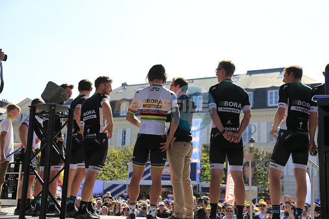 World Champion Peter Sagan (SVK) and Bora-Hansgrohe team at the Team Presentation for the upcoming 115th edition of the Paris-Roubaix 2017 race held in Compiegne, France. 8th April 2017.<br /> Picture: Eoin Clarke | Cyclefile<br /> <br /> <br /> All photos usage must carry mandatory copyright credit (&copy; Cyclefile | Eoin Clarke)