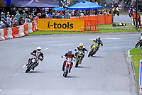 Craig Scott (Wanganui, #62) leads the restart of Supermoto race one during the 2018 Suzuki series Cemetery Circuit motorcycle racing at Cooks Gardens in Wanganui, New Zealand on Wednesday, 28 December 2018. Photo: Dave Lintott / lintottphoto.co.nz