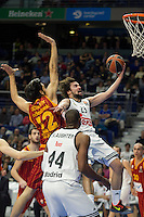 Real Madrid´s Sergio Llull and Marcus Slaughter and Galatasaray´s Gonlum during 2014-15 Euroleague Basketball match between Real Madrid and Galatasaray at Palacio de los Deportes stadium in Madrid, Spain. January 08, 2015. (ALTERPHOTOS/Luis Fernandez) /NortePhoto /NortePhoto.com