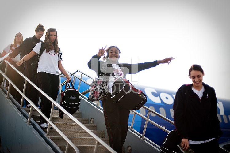 INDIANAPOLIS, IN - MARCH 31, 2011: Nnmedkadi Ogwumike celebrates the Cardinal arrival at the NCAA Final Four in Indianapolis, IN on March 31, 2011.