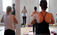 Instructor and co-owner Ashley Blanchon leads a class at Santosha Yoga in Crozet. Photo/Andrew Shurtleff Photography, LLC
