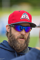 Bryan Petersen (11) of the Colorado Springs Sky Sox before the game against the Salt Lake Bees in Pacific Coast League action at Smith's Ballpark on May 22, 2015 in Salt Lake City, Utah.  (Stephen Smith/Four Seam Images)