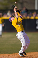 Shortstop Dustin Harrington #7 of the East Carolina Pirates settles under a pop fly at Clark-LeClair Stadium on February 20, 2010 in Greenville, North Carolina.   Photo by Brian Westerholt / Four Seam Images