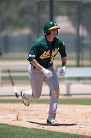 Oakland Athletics third baseman William Toffey (53) starts down the first base line during an Extended Spring Training game against the San Francisco Giants Orange at the Lew Wolff Training Complex on May 29, 2018 in Mesa, Arizona. (Zachary Lucy/Four Seam Images)
