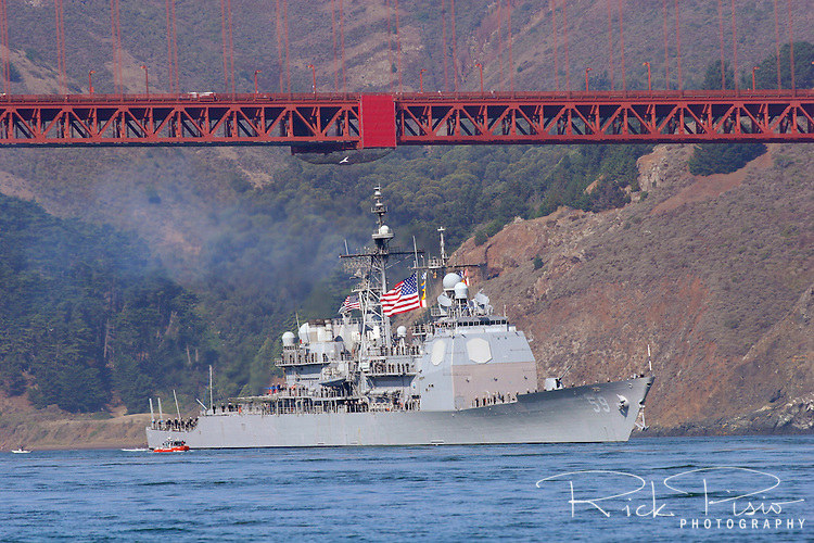 The USS Princeton (CG 59) passes under the north end of the Golden Gate Bridge as she leads the parade of ships during San Francisco's 2006 Fleet Week activities. The Ticonderoga class guided missile cruiser is the sixth U. S. Navy ship to honor the name Princeton. It was commissioned in 1989 in Pascagoula, MS and has completed three deployments to the Arabian Gulf and won two consecutive Battle Efficiency Awards in 1992-1993.