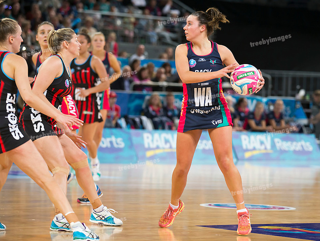 26/04/2015<br /> ANZ Championship 2015<br /> Round 9 Vixens v Tactix at Hisense Arena<br /> <br /> Kelsey Browne<br /> <br /> Photo: Grant Treeby