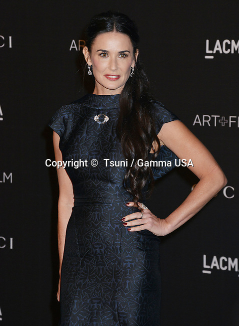 demi Moore  at the 2014 LACMA  Art+Film Gala at the LACMA Museum in Los Angeles.