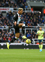 9th November 2019; St James Park, Newcastle, Tyne and Wear, England; English Premier League Football, Newcastle United versus AFC Bournemouth; Joelinton of Newcastle United jumps to control the ball - Strictly Editorial Use Only. No use with unauthorized audio, video, data, fixture lists, club/league logos or 'live' services. Online in-match use limited to 120 images, no video emulation. No use in betting, games or single club/league/player publications