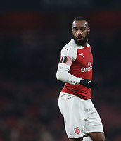 Arsenal's Alexandre Lacazette<br /> <br /> Photographer Rob Newell/CameraSport<br /> <br /> UEFA Europa League Group E - Arsenal v FK Qarabag - Thursday 13th December 2018 - Emirates Stadium - London<br />  <br /> World Copyright © 2018 CameraSport. All rights reserved. 43 Linden Ave. Countesthorpe. Leicester. England. LE8 5PG - Tel: +44 (0) 116 277 4147 - admin@camerasport.com - www.camerasport.com