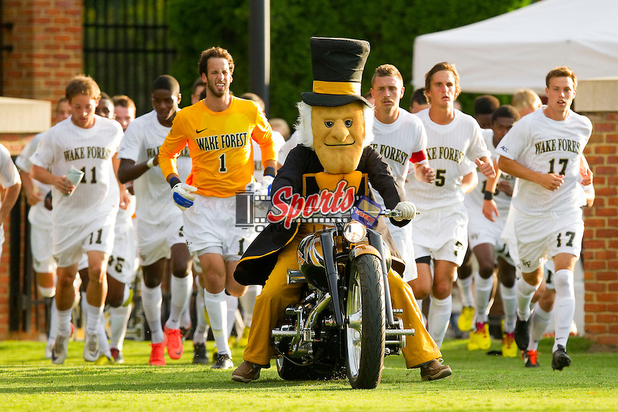 The Wake Forest Demon Deacon leads the men's soccer team onto the field prior to the start of the game against the Wofford Terriers at Spry Soccer Stadium on August 25, 2012 in Winston-Salem, North Carolina.  The Demon Deacons defeated the Terriers 1-0.  (Brian Westerholt/Sports On Film)