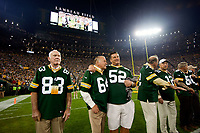 From left, Allen Brown, Jerry Kramer, Frank Winters, Steve Wright, Zeke Bratkowski, Cqrol Dale and unidentified Packer alumni prior to introductions before Green Bay's game against the Seattle Seahawks on Sept. 20, 2015.