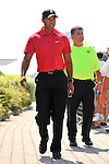 30 August 2009: Tiger Woods heads to the driving range before his final round in The Barclays PGA Playoffs at Liberty National Golf Course in Jersey City, New Jersey.