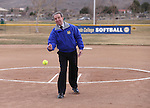 Mayor Bob Crowell throws out the first pitch for the Western Nevada College Wildcats before a game against College of Southern Idaho in Carson City, Nev., on Friday, Feb. 27, 2015. <br /> Photo by Cathleen Allison/Nevada Photo Source