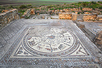 Roman mosaic of Orpheus surrounded by animals, at the House of Orpheus, Volubilis, Northern Morocco. Volubilis was founded in the 3rd century BC by the Phoenicians and was a Roman settlement from the 1st century AD. Volubilis was a thriving Roman olive growing town until 280 AD and was settled until the 11th century. The buildings were largely destroyed by an earthquake in the 18th century and have since been excavated and partly restored. Volubilis was listed as a UNESCO World Heritage Site in 1997. Picture by Manuel Cohen