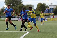 Anthony McDonald of Haringey and Simon Kabamba of Herne Bay during Haringey Borough vs Herne Bay, Emirates FA Cup Football at Coles Park Stadium on 7th September 2019