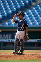 Harry Ford (20) of North Cobb High School in Kennesaw, GA during the Perfect Game National Showcase at Hoover Metropolitan Stadium on June 20, 2020 in Hoover, Alabama. (Mike Janes/Four Seam Images)