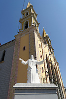 Statue of Jesus Christ next to the Cathedral of the Immaculate Conception in downtown Mazatlan, Sinaloa, Mexico
