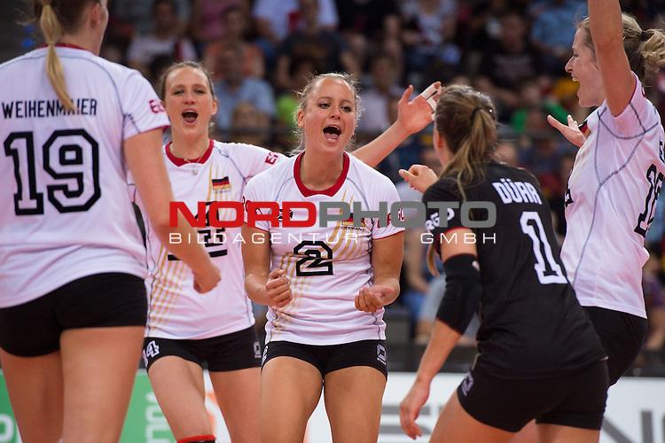 07.06.2014, Porsche Arena, Stuttgart<br /> Volleyball, European League 2014, Deutschland vs. Spanien<br /> <br /> Jubel Laura Weihenmaier (#19 GER), Margareta Kozuch (#14 GER), Kathleen Wei&szlig; / Weiss (#2 GER), Lenka D&uuml;rr / Duerr (#1 GER), Heike Beier (#12 GER)<br /> <br />   Foto &copy; nordphoto / Kurth