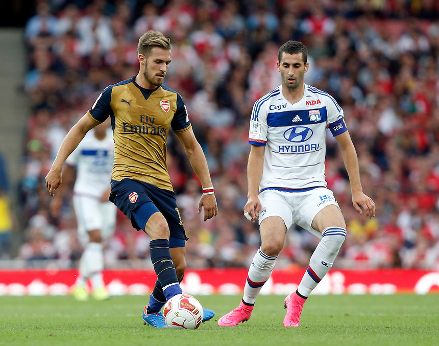 Arsenal's Aaron Ramsey in action<br /> <br /> Photographer Kieran Galvin/CameraSport<br /> <br /> Football - Emirates Cup - Arsenal v Olympique Lyonnais - Saturday 25th July 2015 - Emirates Stadium - London <br /> <br /> &copy; CameraSport - 43 Linden Ave. Countesthorpe. Leicester. England. LE8 5PG - Tel: +44 (0) 116 277 4147 - admin@camerasport.com - www.camerasport.com