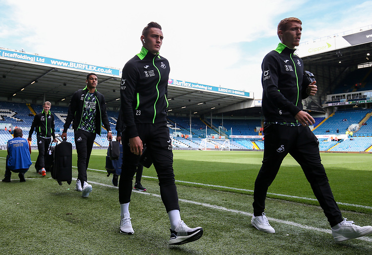 Swansea City's Connor Roberts and Jay Fulton arrive at Elland Road<br /> <br /> Photographer Alex Dodd/CameraSport<br /> <br /> The EFL Sky Bet Championship - Leeds United v Swansea City - Saturday 31st August 2019 - Elland Road - Leeds<br /> <br /> World Copyright © 2019 CameraSport. All rights reserved. 43 Linden Ave. Countesthorpe. Leicester. England. LE8 5PG - Tel: +44 (0) 116 277 4147 - admin@camerasport.com - www.camerasport.com