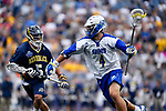 FOXBORO, MA - MAY 28: Dale Cornetta (4) of the Limestone Saints with the ball during the Division II Men's Lacrosse Championship held at Gillette Stadium on May 28, 2017 in Foxboro, Massachusetts. (Photo by Larry French/NCAA Photos via Getty Images)