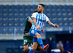 Tete Morente (Malaga CF) and Francisco Montero (RC Deportivo de la Coruna) competes for the ball during La Liga Smartbank match round 39 between Malaga CF and RC Deportivo de la Coruna at La Rosaleda Stadium in Malaga, Spain, as the season resumed following a three-month absence due to the novel coronavirus COVID-19 pandemic. Jul 03, 2020. (ALTERPHOTOS/Manu R.B.)