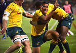 Wallabies player Israel Folau celebrates the try during the Rugby Championship match between Australia and Argentina in Canberra on September 16, 2017. AFP PHOTO / MARK GRAHAM --- IMAGE RESTRICTED TO EDITORIAL USE - STRICTLY NO COMMERCIAL USE --